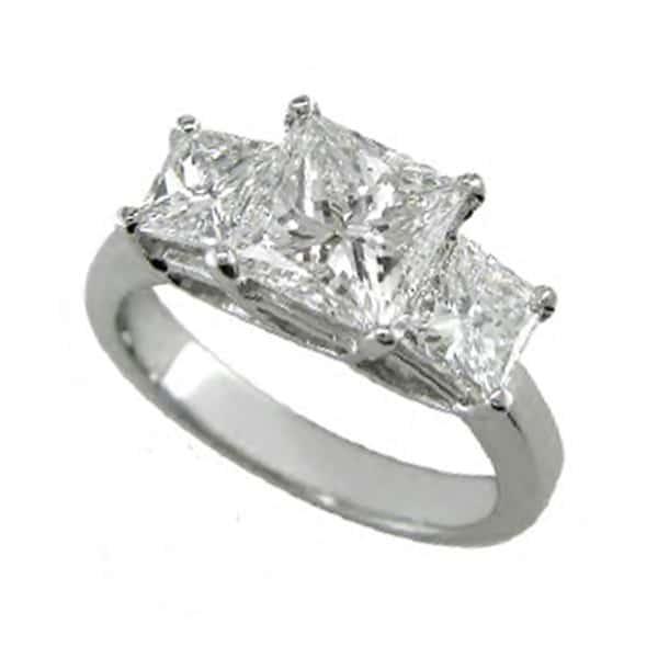Three Stone Princess Cut Halo Engagement Rings