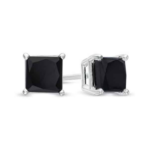 Black Princess Cut Diamond Earrings