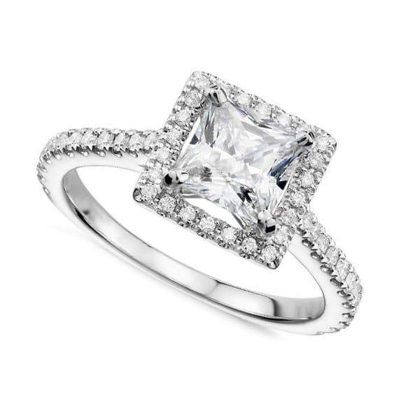 Princess Cut Diamond Halo Engagement Rings