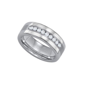 Shop our Tungsten Wedding Bands with diamonds at Anthony's Jewelers
